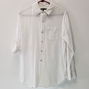 Love Culture Long Sleeve Button Down White Top